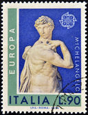 ITALY - CIRCA 1974: a stamp printed in Italy shows David, Miguel Anguel Renaissance sculpture, circa 1974 — Stock Photo