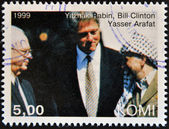 KOMI - CIRCA 1999: A stamp printed in Komi shows Yitzhak Rabin, Bill Clinton and Yasser Arafat, circa 1999 — Stock Photo