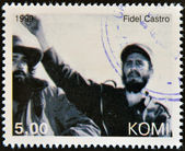 KOMI - CIRCA 1999: A stamp printed in Komi shows Fidel Castro, circa 1999 — Stockfoto
