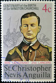 ST CHRISTOPHER NEVIS ANGUILLA - CIRCA 1974: A stamp printed in St Christopher Nevis & Anguilla shows Winston Churchill in the uniform of Lieutenant 1898 21st Lancers , stamp commemorating the cent — Foto Stock