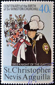 ST CHRISTOPHER NEVIS ANGUILLA - CIRCA 1974: A stamp printed in St Christopher Nevis & Anguilla shows Winston Churchill in 1953 Winston Churchill appointed Knight of the Garter, stamp commemorating — Foto Stock