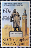 ST CHRISTOPHER NEVIS ANGUILLA - CIRCA 1974: A stamp printed in St Christopher Nevis & Anguilla shows Winston Churchill statue placed in Parliament Square London, stamp commemorating the centenary — Foto Stock