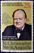 ST CHRISTOPHER NEVIS ANGUILLA - CIRCA 1974: A stamp printed in St Christopher Nevis & Anguilla shows a portrait of Winston Churchill Prime Minister 1940-45 and 1951-55 , stamp commemorating the ce — Stock Photo