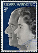UNITED KINGDOM- CIRCA 1972: A stamp printed in United Kingdom shows Queen Elizabeth II and Duke of Edinburgh, commemoration their silver wedding anniversary, circa 1972 — Stock Photo