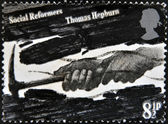 UK - CIRCA 1976: A stamp printed in United Kingdom commemorates the social reforms of Thomas Hepburn, circa 1976 — Zdjęcie stockowe