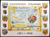 SAINT VINCENT - CIRCA 1986: a stamp was printed in Saint Vincent, shows Christopher Columbus and map of the Antilles, commemoration of 200 anniversary of the creation of the united states of america, — Foto Stock