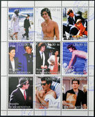 TURKMENISTAN - CIRCA1999: stamps printed in turkmenistan, shows set of stamps showing nine stamps with pictures of John Fitzgerald Kennedy Jr., circa 1999 — Stock Photo