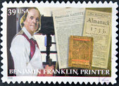 UNITED STATES OF AMERICA - CIRCA 2006: A stamp printed in USA shows Benjamin Franklin, printer, circa 2006 — Foto Stock