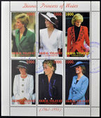TURKMENISTAN - CIRCA1997: stamps printed in turkmenistan, shows set of stamps showingsix stamps with pictures of Diana Princess of Wales, Lady Di, circa 1997 — Stock Photo