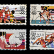 Stock Photo: UNITED STATES OF AMERIC- CIRC1984: Collection stamps printed in USdedicated to Olympics 84, circ1984