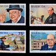 Постер, плакат: BARBUDA CIRCA 1974: 4 stamps printed in Barbuda dedicated to centenary of the birth of Sir Winston S Churchill circa 1974