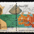 Stock Photo: BRAZIL - CIRC1992: stamp printed in Brazil dedicated to discovery of Americby Christopher Columbus, circ1992