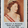 BRAZIL - CIRCA 1968: A stamp printed in Brazil shows the visit of Her Majesty Elizabeth II, Queen of England, circa 1968 — Stock Photo