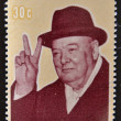 Постер, плакат: COOK ISLANDS CIRCA 1974 : Stamp printed in Cook Islands shows image of sir Winston Churchill hat 1874 1974 circa 1974