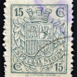 SPAIN - CIRCA 1923: A stamp printed in Spain shows a shield of Spain before the Habsburgs with leaves of laurel and oak, Dictatorship of Primo de Rivera, circa 1923 - Stock Photo