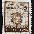 Royalty-Free Stock Photo: SPAIN - CIRCA 1944: A stamp printed in Spain shows Stamp commemorating the council  Barcelona, 1939-1944, Barcelona ancient shield with two sticks of gules, the cross of St. George and the crown. circ