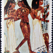 EQUATORIAL GUINEA - CIRCA 1974: A stamp printed in Equatorial Guinea dedicated to the female nude in art history shows The three dancers of Egyptian art, circa 1974 — Stock Photo