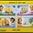ROMANIA - CIRCA 1992: Four stamps printed in Romania shows image celebrating the 500th anniversary of the landing of Christopher Columbus in the Americas, circa 1992 — Stock Photo