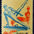 USSR - CIRCA 1984: A stamp printed in Russia shows a man on Pommel horse, circa 1984 - Stock Photo