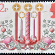 UNITED KINGDOM - CIRCA 1980 : A stamp printed in Great Britain showing Christmas Candle Decorations, circa 1980 — Stock Photo