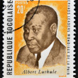 REPUBLIC OF TOGO - CIRCA 1969: A stamp printed in Togo dedicated to great world leaders of peace, shows Albert Luthuli (Lutuli), circa 1969 — Stock Photo