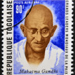 Stock Photo: REPUBLIC OF TOGO - CIRC1969: stamp printed in Togo dedicated to great world leaders of peace, shows MahatmGandhi, circ1969
