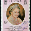 TUVALU - CIRCA 1980: A stamp printed in Tuvalu shows a portrait of the Queen Mother, circa 1980 — Stock Photo