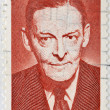 UNITED STATES OF AMERICA - CIRCA 1986 : stamp printed in  USA show Thomas Stearns Eliot, an American-born English poet, playwright and literary critic, circa 1986 - Stok fotoğraf
