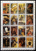AJMAN - CIRCA 1973: Collection stamps printed in Ajman Emirate shows Famous paintings life of Christ, circa 1973 — Stock Photo