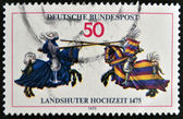 GERMANY - CIRCA 1975: A stamp printed in Germany honoing 500th Anniversary of Landshut Wedding (festival). Jousting Contestl, circa 1975 — Stock Photo