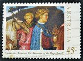 "AUSTRALIA - CIRCA 1994: Stamp printed in Australia shows draw by Giovanni Toscani ""The Adoration of the Magi"" (denail), circa 1994 — Stock Photo"