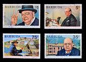 BARBUDA - CIRCA 1974: 4 stamps printed in Barbuda dedicated to centenary of the birth of Sir. Winston S. Churchill, circa 1974 — Stock Photo