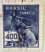 BRAZIL - CIRCA 1920: A stamp printed in Brazil, shows Hermes - a symbol of trade (Roman god Mercury), circa 1920 — Stock Photo