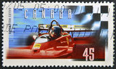 CANADA - CIRCA 1997: stamp printed in Canada, shows Gilles Villeneuve, Formula One Race Car Driver, circa 1997 — Stock Photo