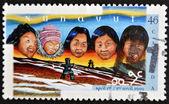 Kanada - ca 1999: stämpel tryckt i kanada visar skapandet av territoriet nunavut, circa 1999 — Stockfoto
