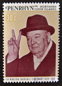 COOK ISLANDS - CIRCA 1974 : Stamp printed in Cook Islands , shows image of sir Winston Churchill hat, 1874-1974, circa 1974 — Stock Photo
