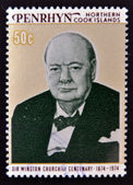 COOK ISLANDS - CIRCA 1974 : Stamp printed in Cook Islands , shows image of sir Winston Churchill, 1874-1974, circa 1974 — Stock Photo