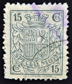 SPAIN - CIRCA 1923: A stamp printed in Spain shows a shield of Spain before the Habsburgs with leaves of laurel and oak, Dictatorship of Primo de Rivera, circa 1923 — Stock Photo
