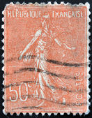 FRANCE - CIRCA 1903: stamp printed in France shows marianne sowing, circa 1903 — Stock Photo