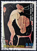 EQUATORIAL GUINEA - CIRCA 1974: A stamp printed in Equatorial Guinea dedicated to the female nude in art history shows naked woman belonging to Greek art, circa 1974 — Stock Photo