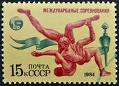 USSR - CIRCA 1984: A stamp printed in Russia shows Wrestling, circa 1984 — Stock Photo
