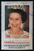 UNION IS. - CIRCA 1986: a stamp printed in the Grenadines of St. Vincent shows Her Majesty the Queen Elizabeth II, sixtieth birthday, circa 1986 — Stock Photo