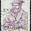 GERMANY - CIRCA 1994: A stamp printed in the Germany shows the portrait of Hans Sachs, German poet of the sixteenth century , circa 1994 - Stockfoto