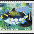AUSTRALIA - CIRCA 2010: A stamp printed in Australia shows an image of clown triggerfish coral faith, inventive, circa 2010 — Photo