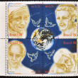 Royalty-Free Stock Photo: BRAZIL - CIRCA 1998: Collection stamps dedicated to peace and fraternity, shows Mother Teresa of Calcutta, Frei Galvao, Betinho and Brother Damian, circa 1998