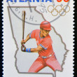 CUBA - CIRCA 1995: A stamp printed in Cuba dedicated to Olympic Games in Atlanta 1996, shows baseball, circa 1995 — Stock Photo