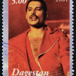 Постер, плакат: DAGESTAN CIRCA 2001: A stamp printed in Republic of Dagestan shows Freddie Mercury leader the Queen 1980s famous musical pop group circa 2001