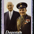 DAGESTAN - CIRCA 2001: A stamp printed in Republic of Dagestan shows Yuri Gagarin - first human in space, circa 2001 — Stock Photo #11844403