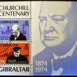 Постер, плакат: GIBRALTAR CIRCA 1974 : Stamp printed in Gibraltar shows image of sir Winston Churchill 1874 1974 circa 1974