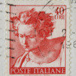 Постер, плакат: ITALY CIRCA 1961: A stamp printed in Italy shows Daniel fragment of painted ceiling of the Sistine Chapel Vatican fresco by Michelangelo circa 1961